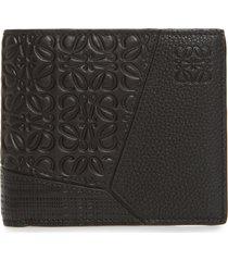 men's loewe puzzle bifold leather wallet - black