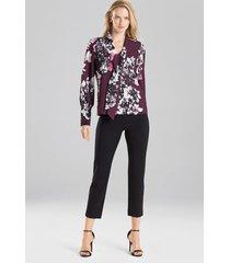 natori bouquet tie front blouse, women's, purple, size l natori