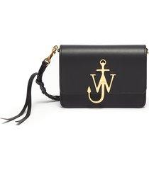 'logo' plate braided strap leather crossbody bag