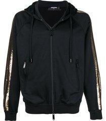 dsquared2 sequin striped zip-up hoodie - black