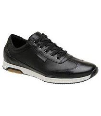 tênis casual masculino couro conforto zoccolette sapato sapatênis preto