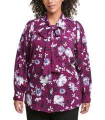 calvin klein plus size long-sleeve tie-neck blouse