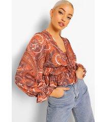 geplooide paisley blouse met strik, brown
