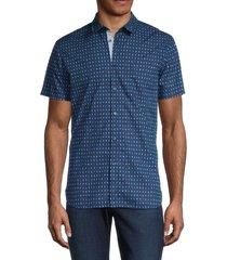 boss hugo boss men's cotton-blend graphic button-front shirt - dark blue - size s