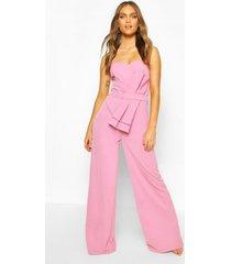 strapless culotte jumpsuit met strik, lila