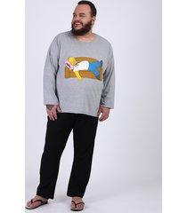 pijama masculino plus size camiseta homer simpsons manga longa gola careca cinza mescla