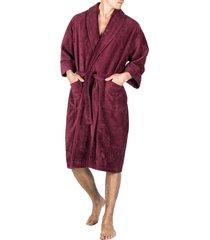 men's majestic international terry velour robe, size small/medium - burgundy