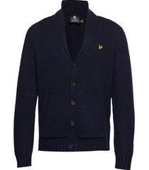 shawl neck cardigan gebreide trui cardigan blauw lyle & scott