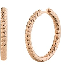 18k rose gold plain braided hoops