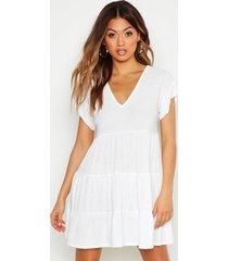 crinkle smock dress, white