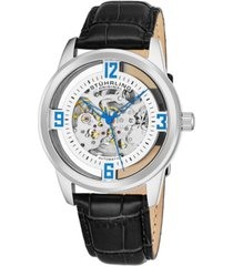 stuhrling original men's dress skeletonized automatic watch, silver tone case on black alligator embossed genuine leather strap, silver tone skeletonized dial with blue accents