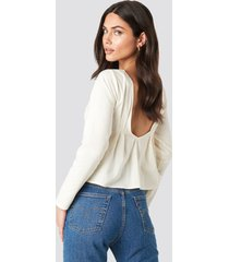 na-kd oxford long sleeve shirt with open back - white