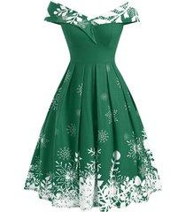 christmas snowflake off shoulder foldover dress