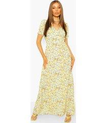bloemenprint maxi jurk met open rug en pofmouwen, mustard