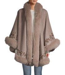 fox fur-trim embroidered cashmere & wool poncho