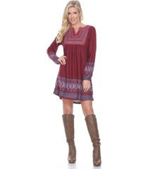 white mark women's atarah embroidered sweater dress
