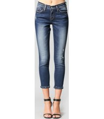 flying monkey mid rise crop skinny jeans with inverted release hem