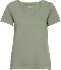 100% organic cotton vintage v-neck t-shirt t-shirts & tops short-sleeved grön gap