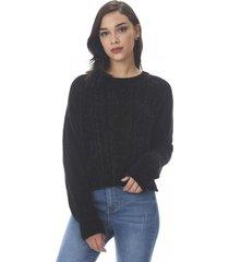 sweater trenzado chenille negro corona