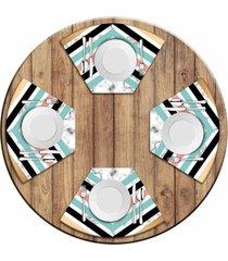 jogo americano love decor para mesa redonda wevans geométrico marble kit com 4 pçs