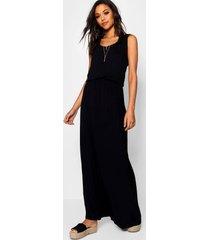 maxi-jurk met racerback, zwart