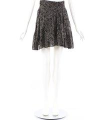 isabel marant etoile laraya black floral cotton pleated skirt black/floral print sz: s