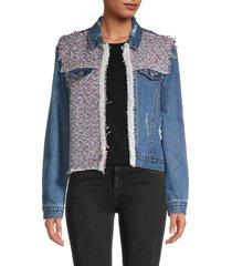lea & viola women's tweed denim jacket - denim - size xs