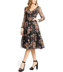 mac duggal floral fit & flare dress