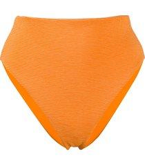 mara hoffman stripe texture high leg bikini bottom - orange