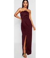 bandeau wrap detail split maxi bridesmaid dress, berry
