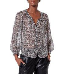 women's joie amissa print silk blouse, size x-small - black
