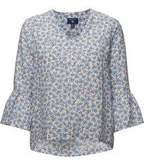 o2. linked floral top blouse lange mouwen wit gant