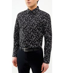 camisa estampada flores manga larga perry ellis