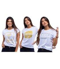 kit 3 t-shirts estampadas camiseta feminina branco