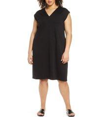 plus size women's eileen fisher v-neck shift dress
