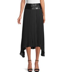 donna karan new york women's asymmetrical pleated skirt - black - size 4