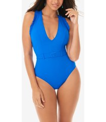 skinny dippers jelly beans belted ruffle tummy control one-piece swimsuit women's swimsuit