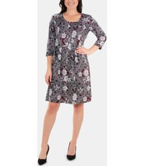 ny collection 3/4-sleeve box-pleat dress