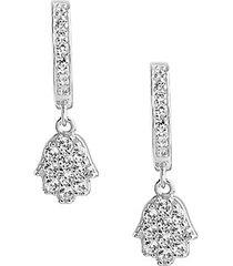 sterling silver & cubic zirconia hamsa micro hoop earrings
