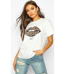 luipaardprint lippen-t-shirt met tekst, wit