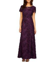 women's alex evenings embellished lace a-line gown, size 16 - purple