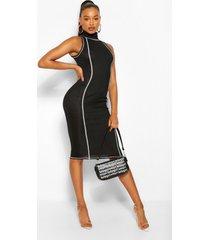 contrasterende ribgebreide midi-jurk met hoge hals, zwart