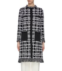 fringe trimmed checker print long coat