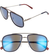 men's salvatore ferragamo 57mm navigator sunglasses - matte ruthenium/ blue