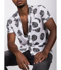 incerun hombres verano negro rosa estampado manga corta transpirable camisa