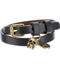 alexander mcqueen pionier double wrap leather bracelet