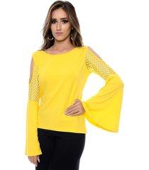 blusa manga longa flare b bonnie em guipir e ombros vazados talita amarela