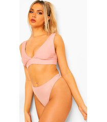 mix & match bikini top met v-hals, dusty pink
