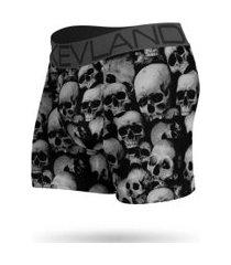 cueca boxer kevland black and white skulls preto