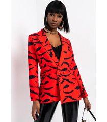 akira azalea wang dorit red zebra blazer jacket